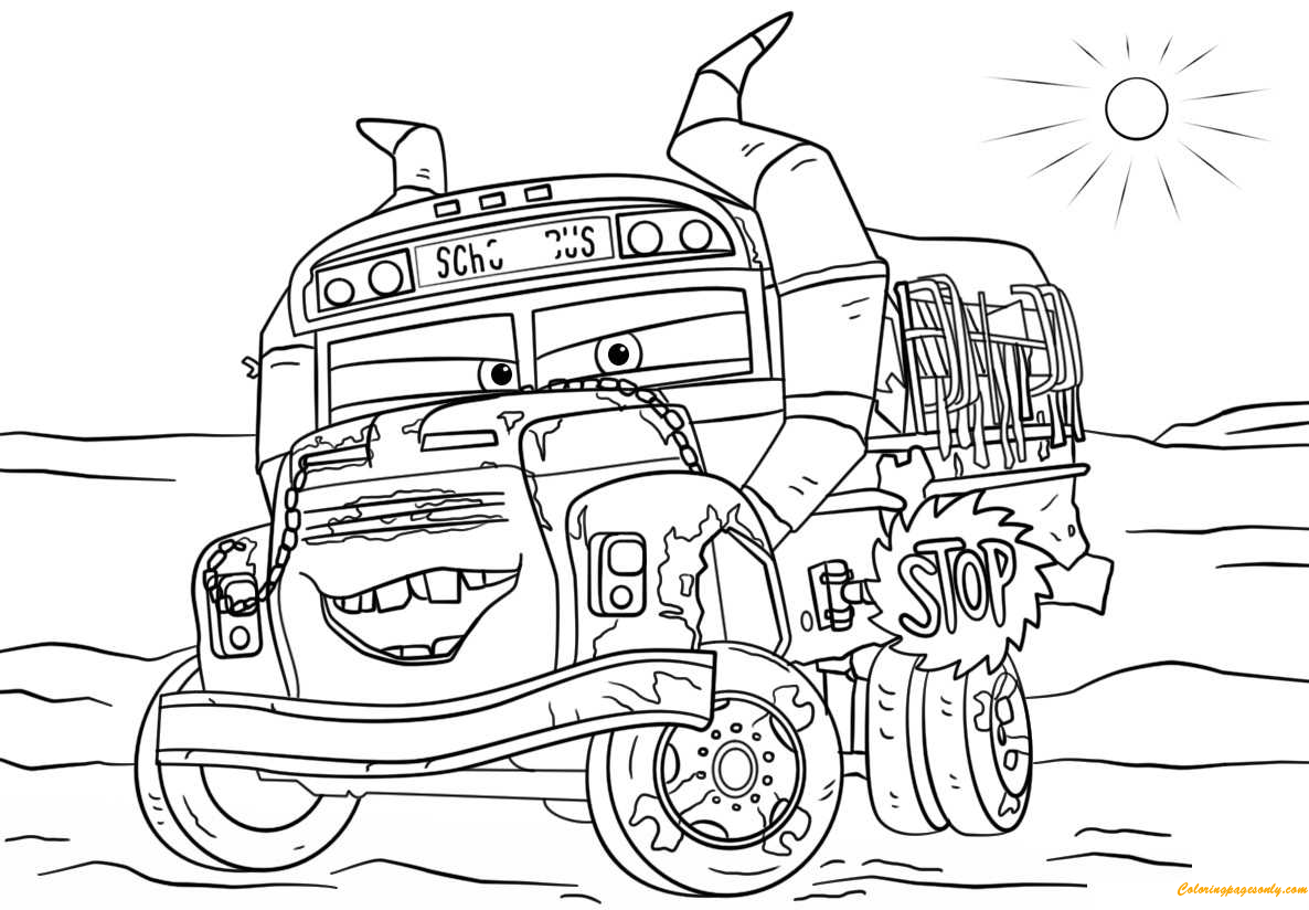 Disney cars coloring pages free ~ Miss Fritter From Cars 3 Disney Coloring Page - Free ...