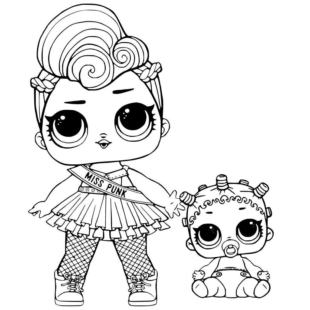 Lol Suprise Doll Miss Punk and Baby Lil Queen Coloring Page