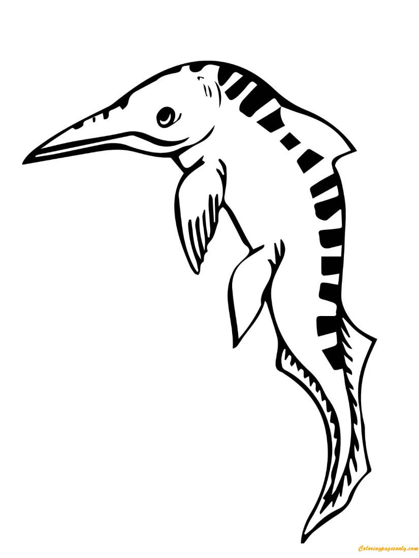 Mixosaurus Ichthyosaur Coloring Page