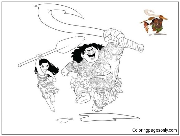 Moana And Maui 2 Coloring Page Free Coloring Pages Online