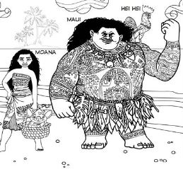 Moana And Maui 3 Coloring Page