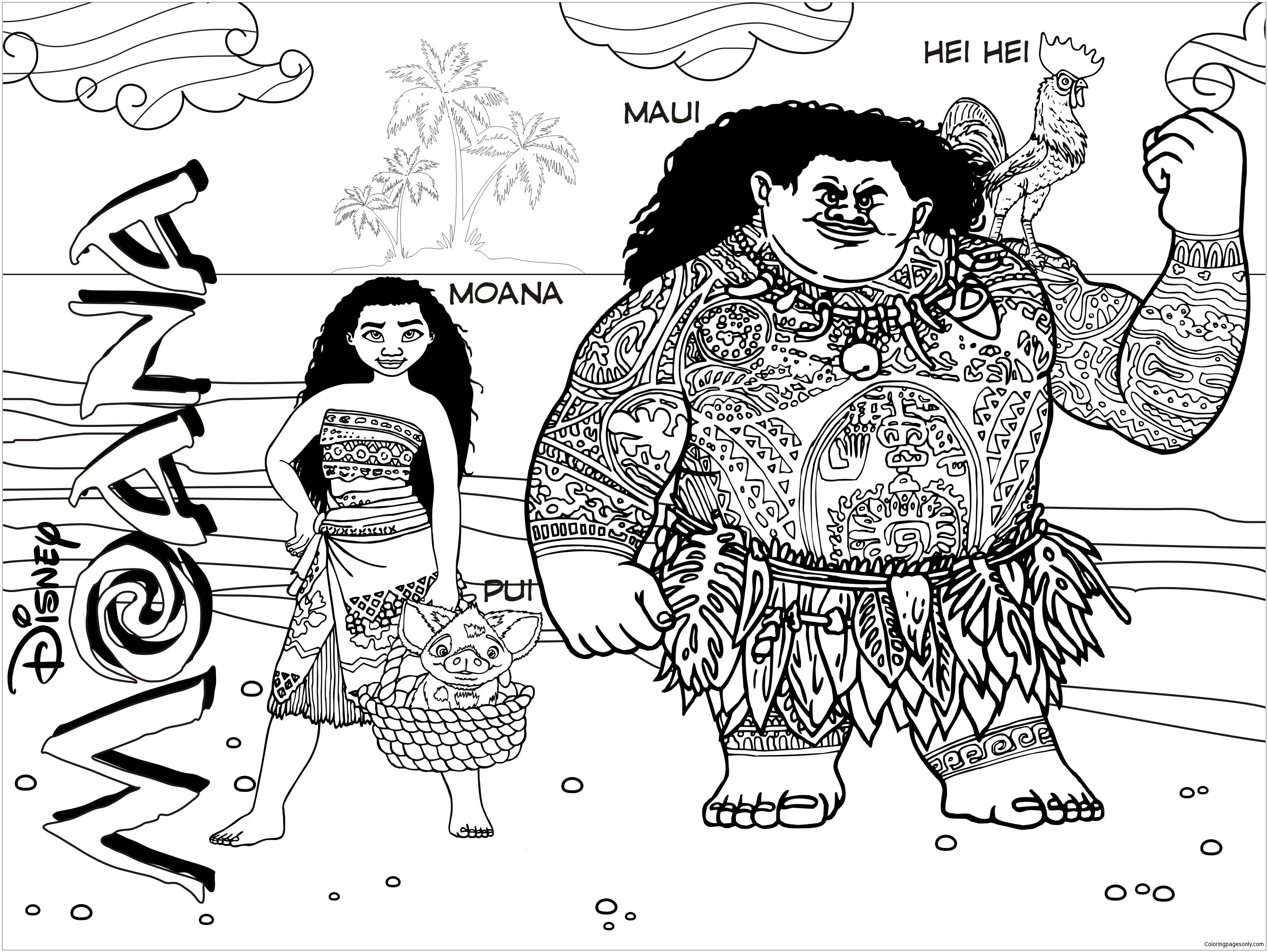 Moana And Maui 3 Coloring Page Free Coloring Pages Online