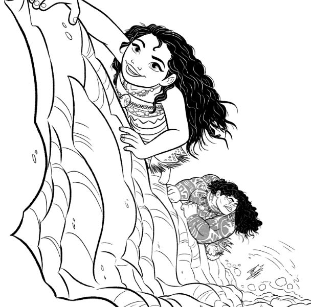 Moana And Maui Are Climbing Coloring Page