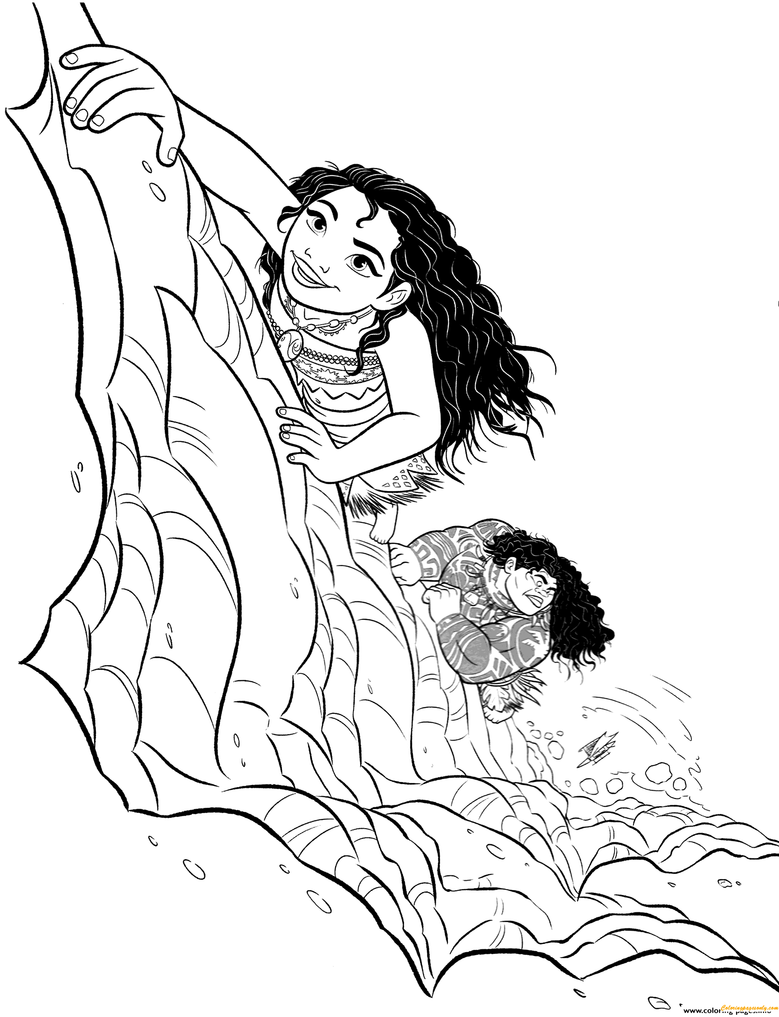 Moana And Maui Are Climbing Coloring Page Free Coloring