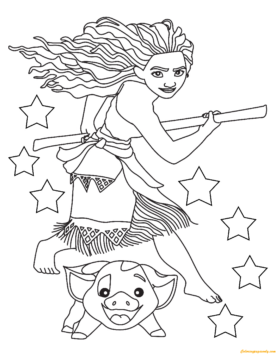Moana And Pig Ready Coloring Page