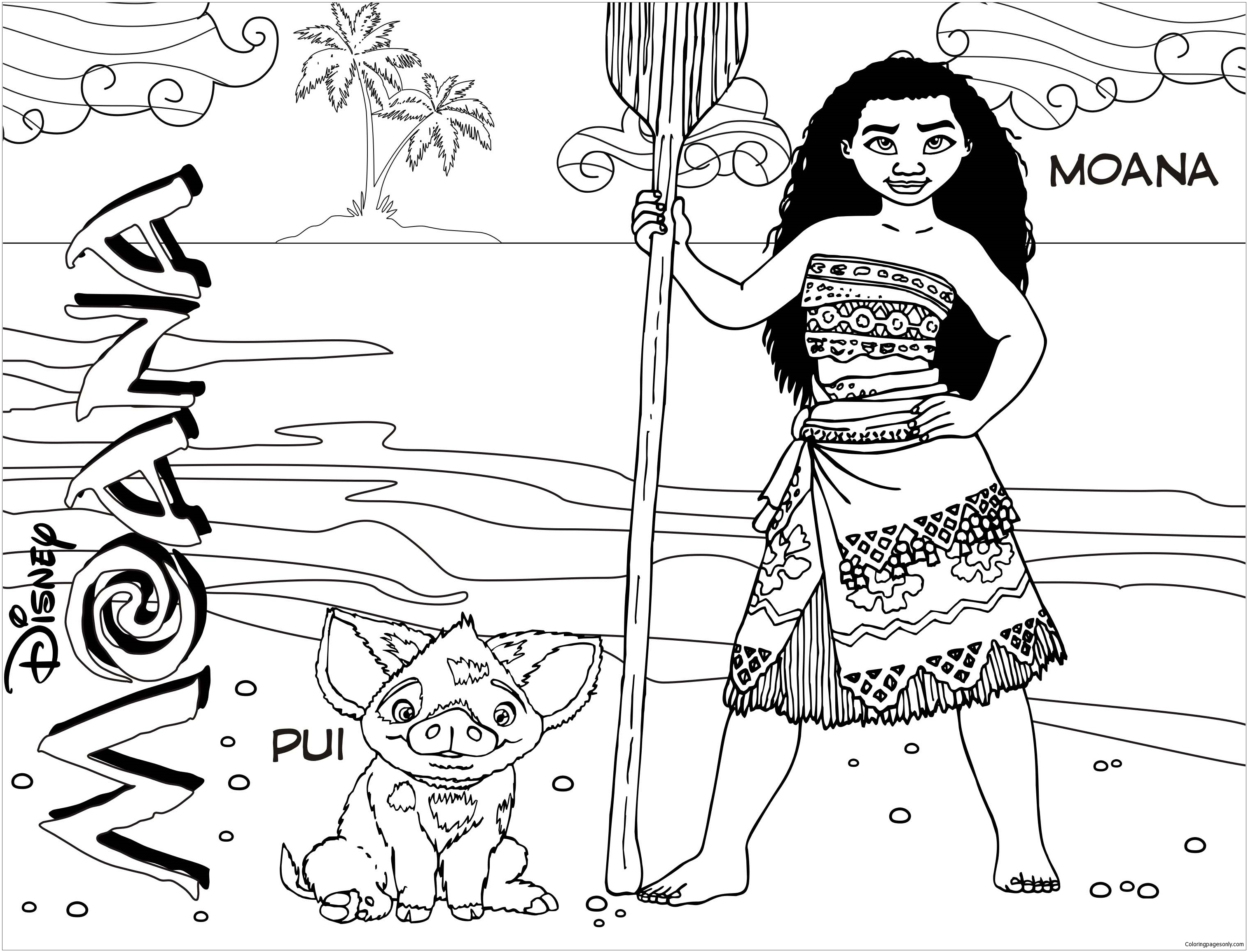 Moana And Pua 2 Coloring Page