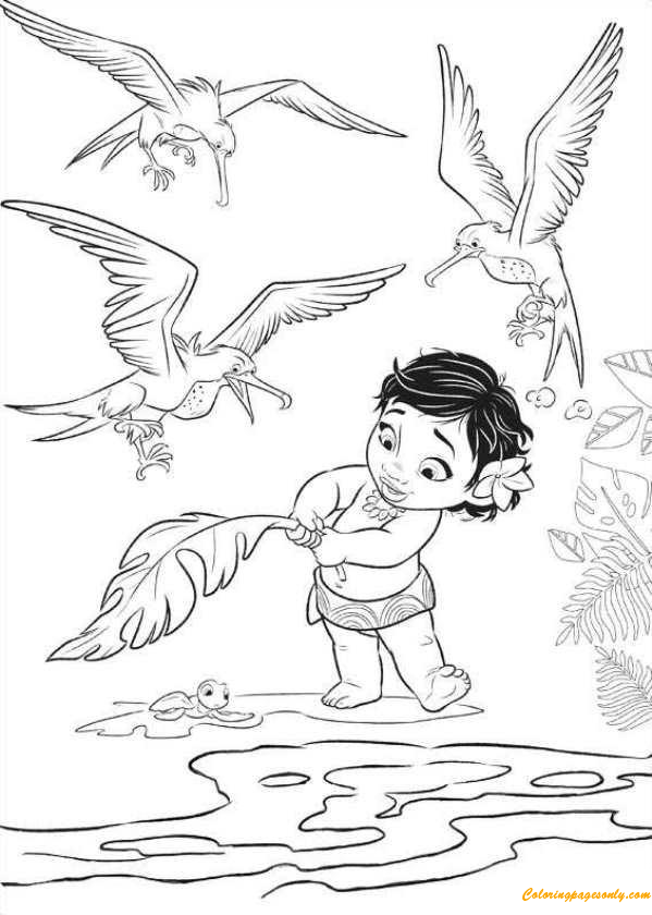 Moana Baby Play With Birds Coloring Pages