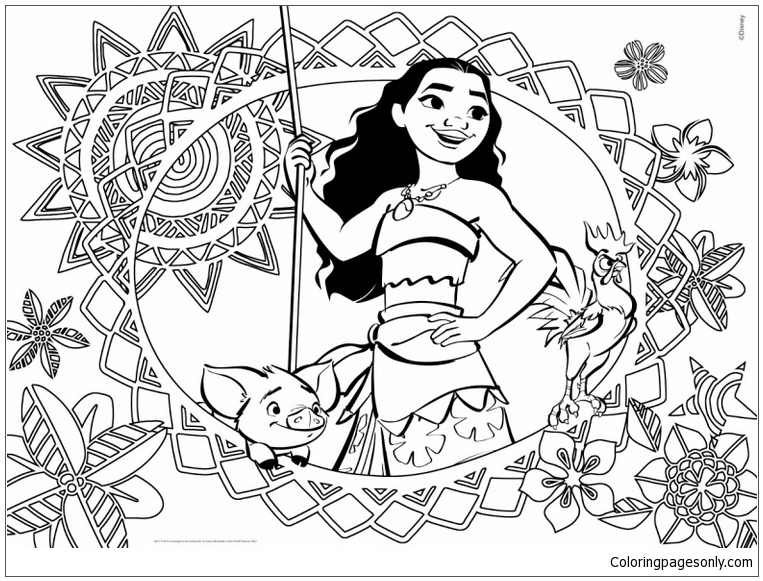Moana Cover Coloring Page