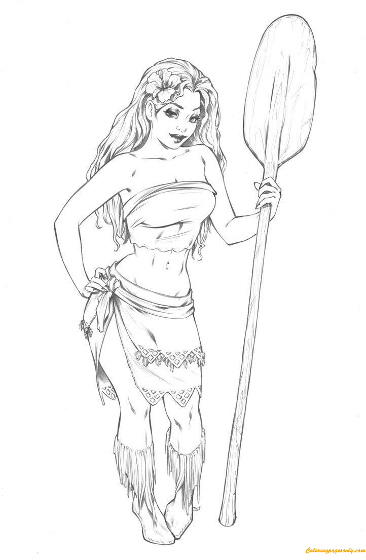 Moana Disney Princess Adult Fan Art Coloring Page Free
