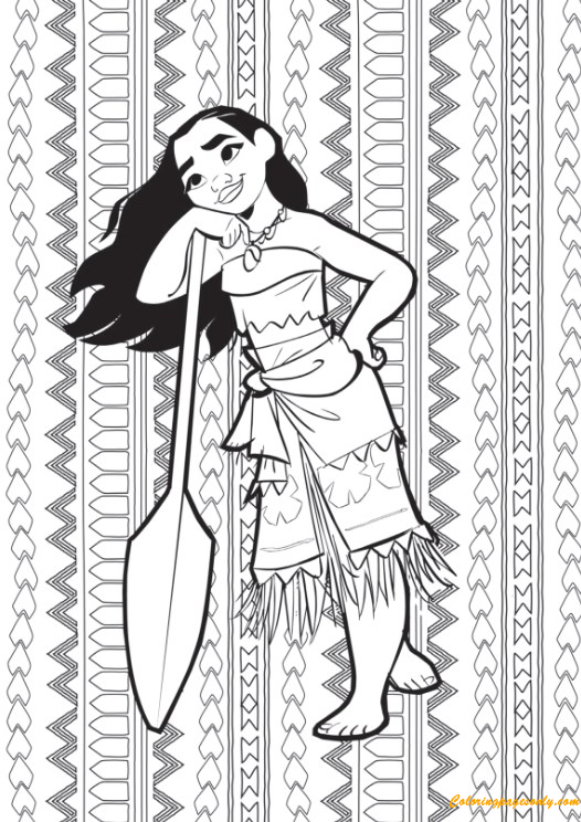 Moana Grown Up Coloring Page Download Print Picture Play Online