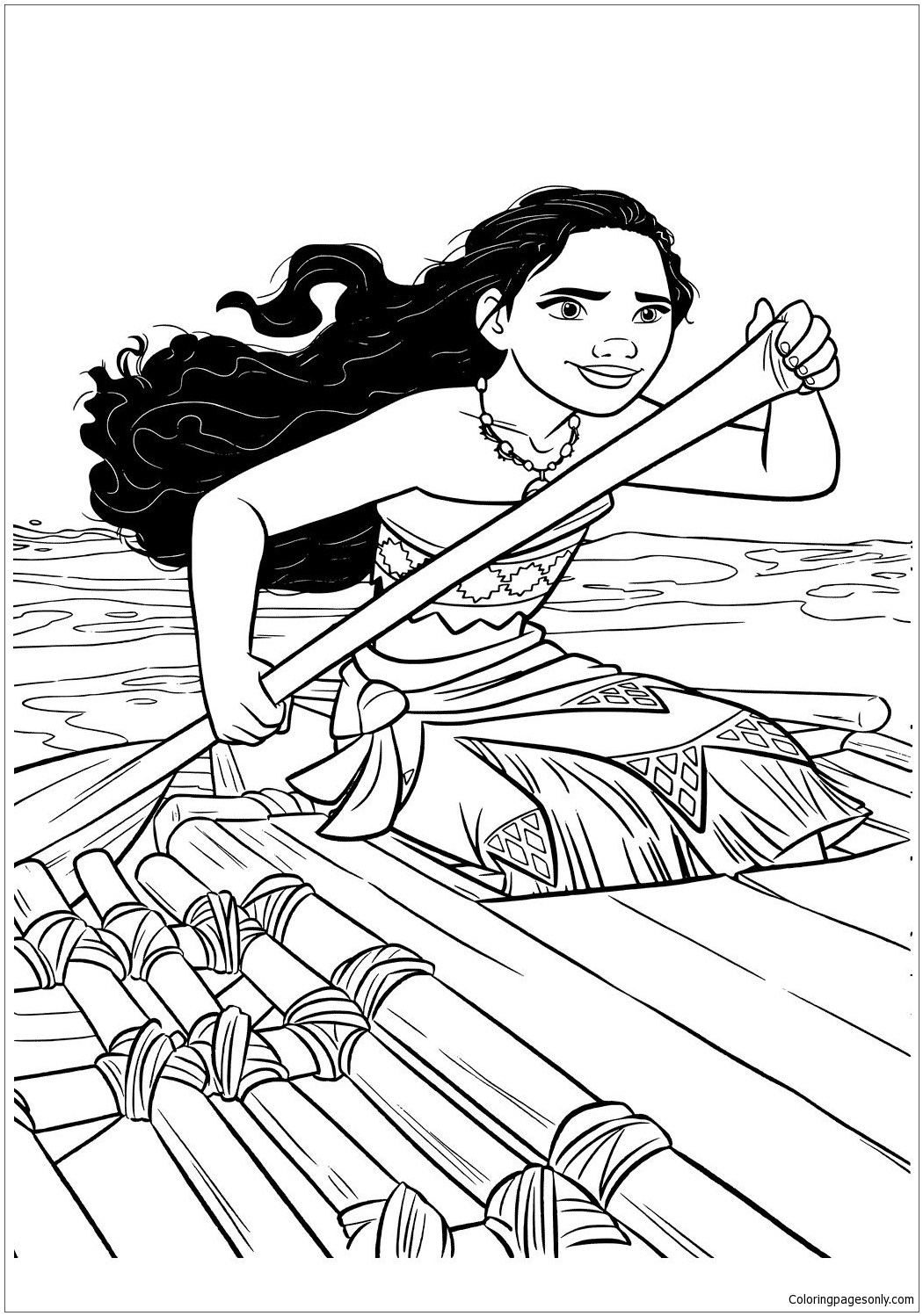 Moana In A Boat Coloring Pages