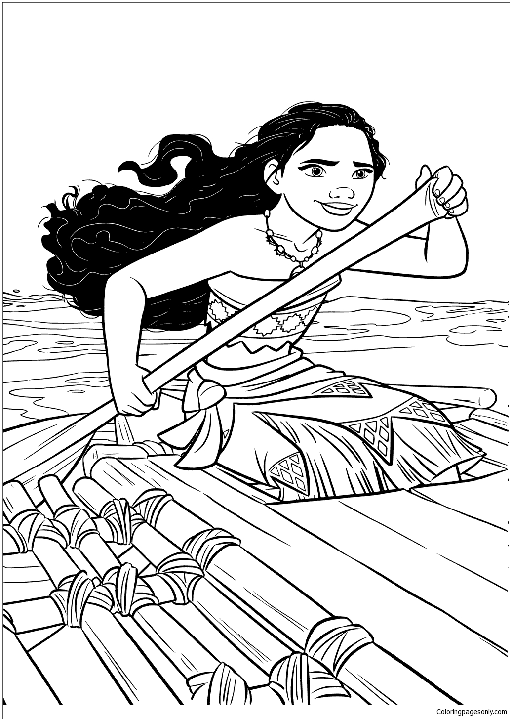 Moana In A Boat Coloring Page