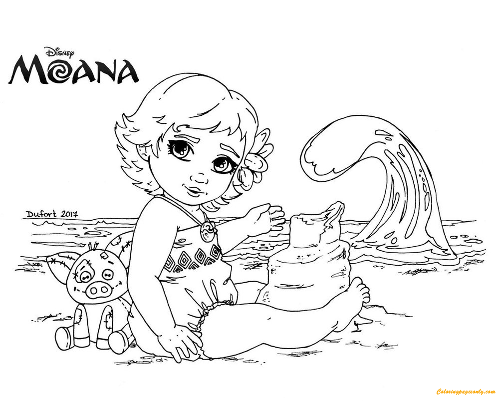 Moana Lineart Coloring Page Download Print Picture Play Online