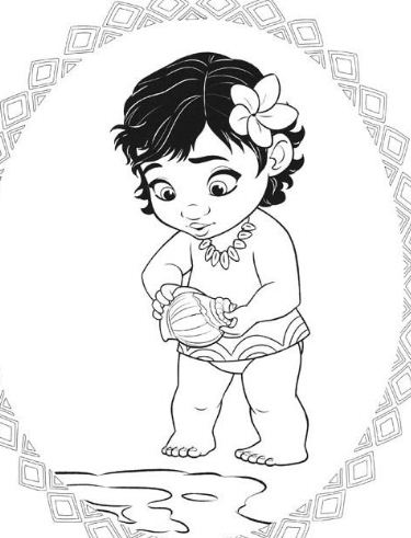 Princess Moana Little Baby  Coloring Page