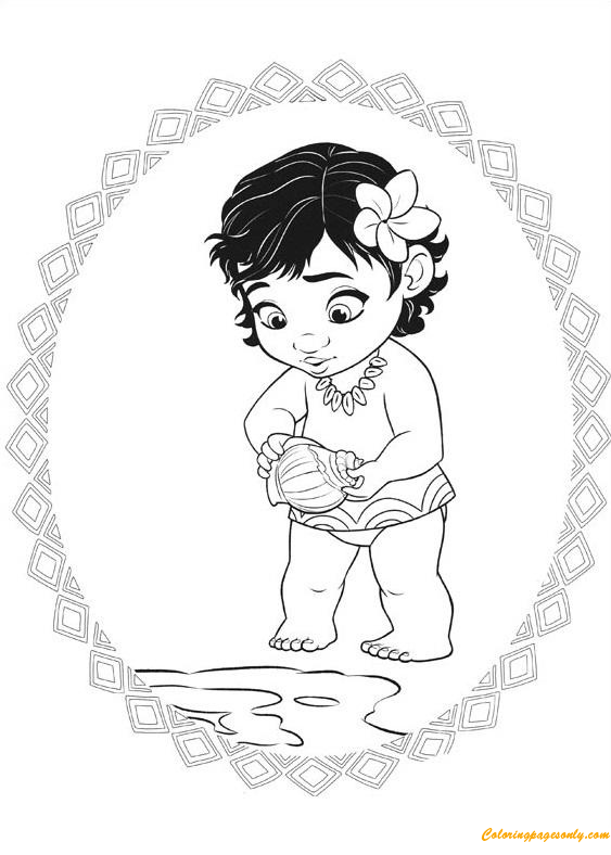Princess Moana Little Baby Coloring Pages