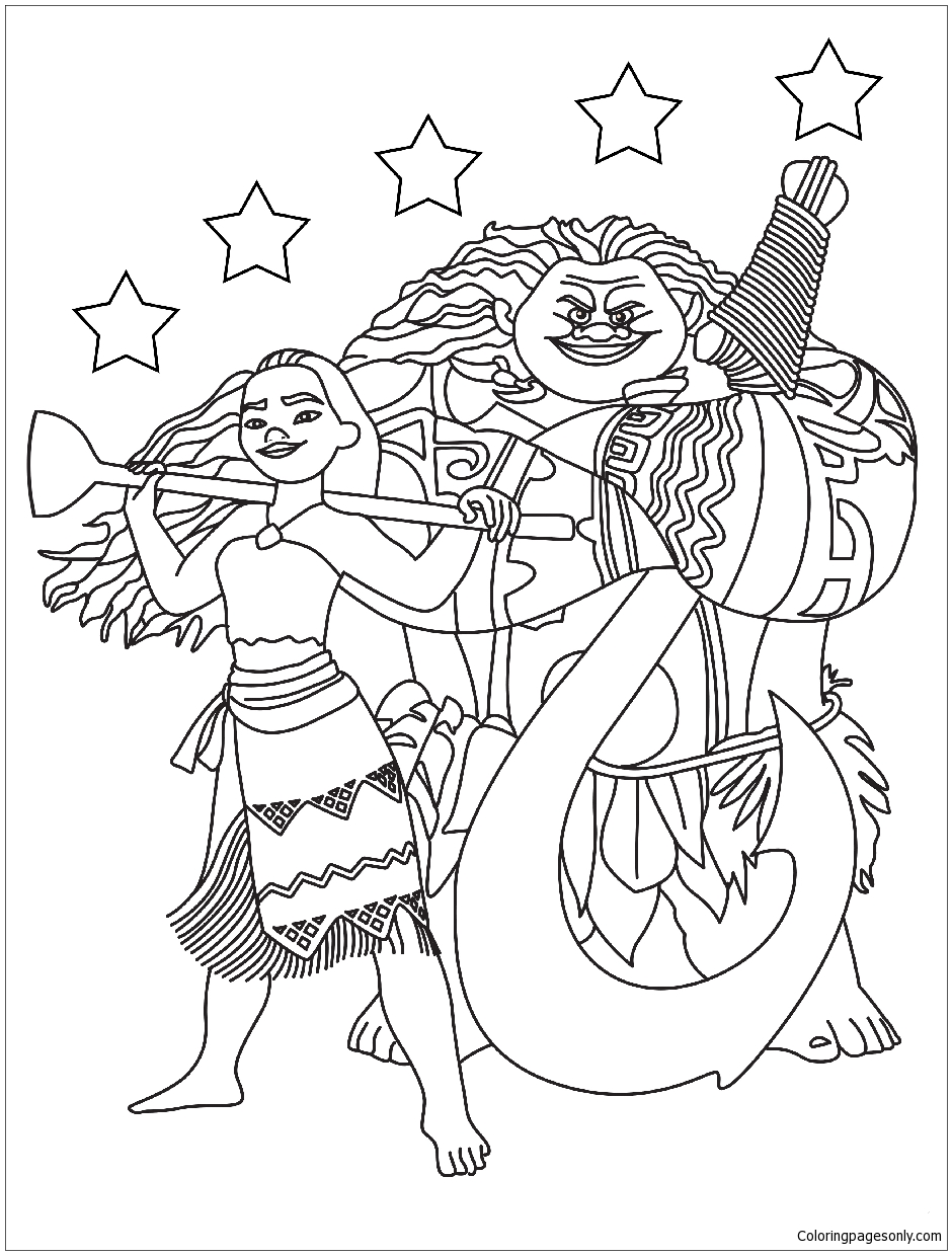 Moana Maui With The Stars Coloring Page Free Coloring