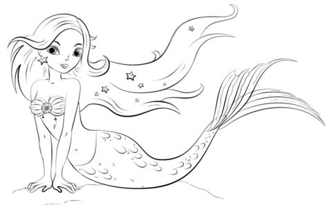 Model Mermaid Coloring Page
