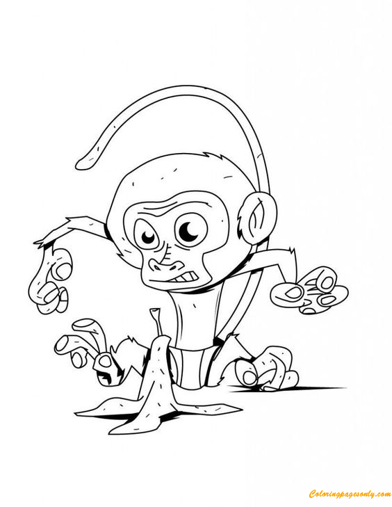 Monkey And Banana Peel Coloring Page
