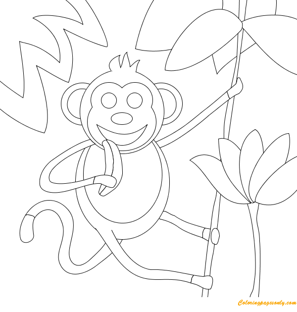Monkey Eating A Banana Coloring Page Free Coloring Pages