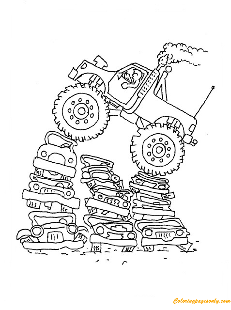 Monster Truck Crushing Cars Coloring Page