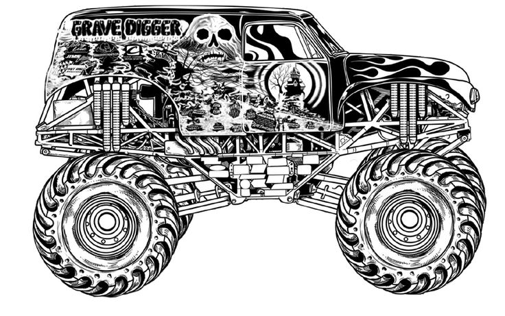 Monster Truck Grave Digger Coloring Page