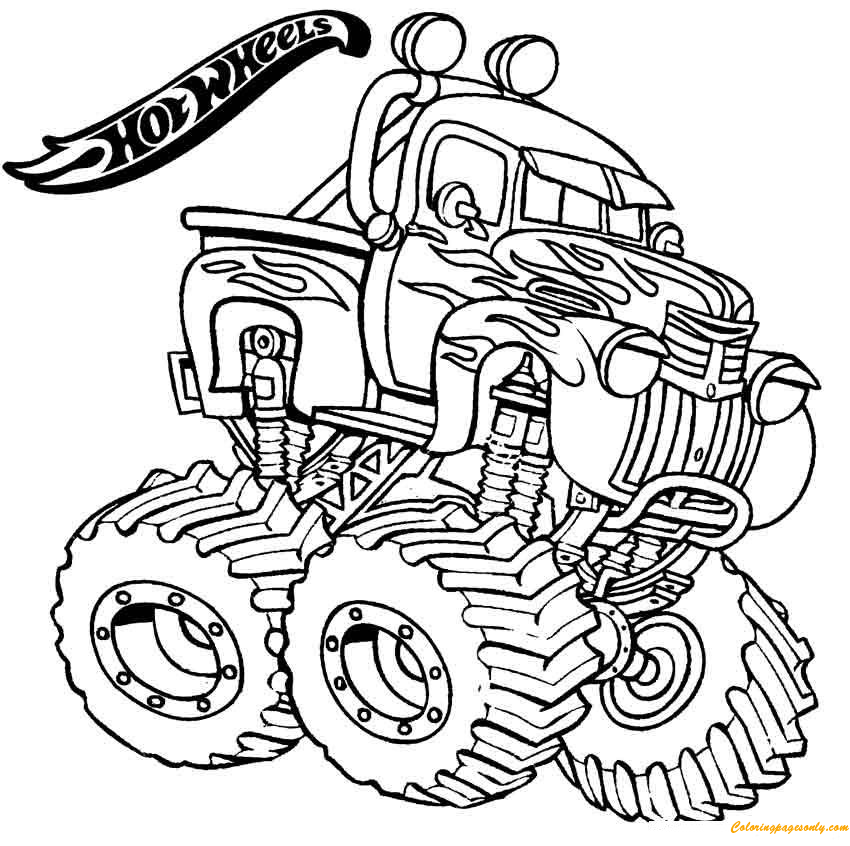 monster truck hot wheels coloring page - free coloring