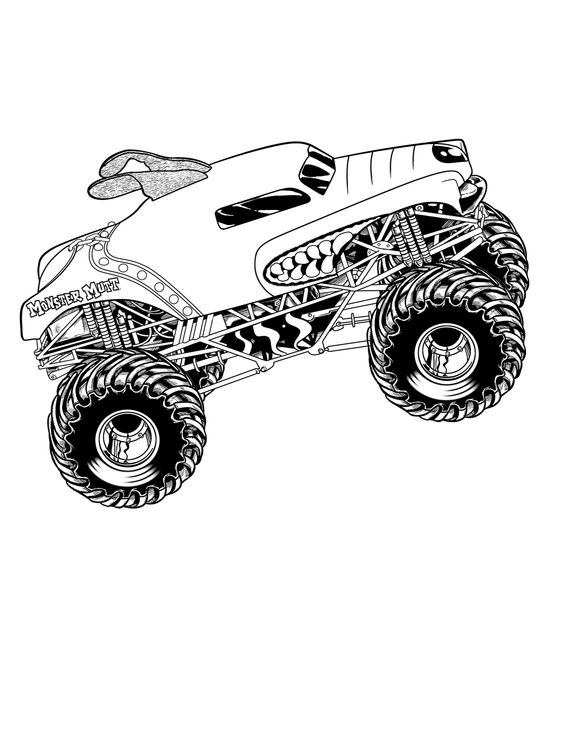 Monster Truck Mutt Coloring Page