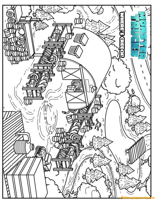Monster Trucks Find Creech Coloring Page Free Coloring Pages Online