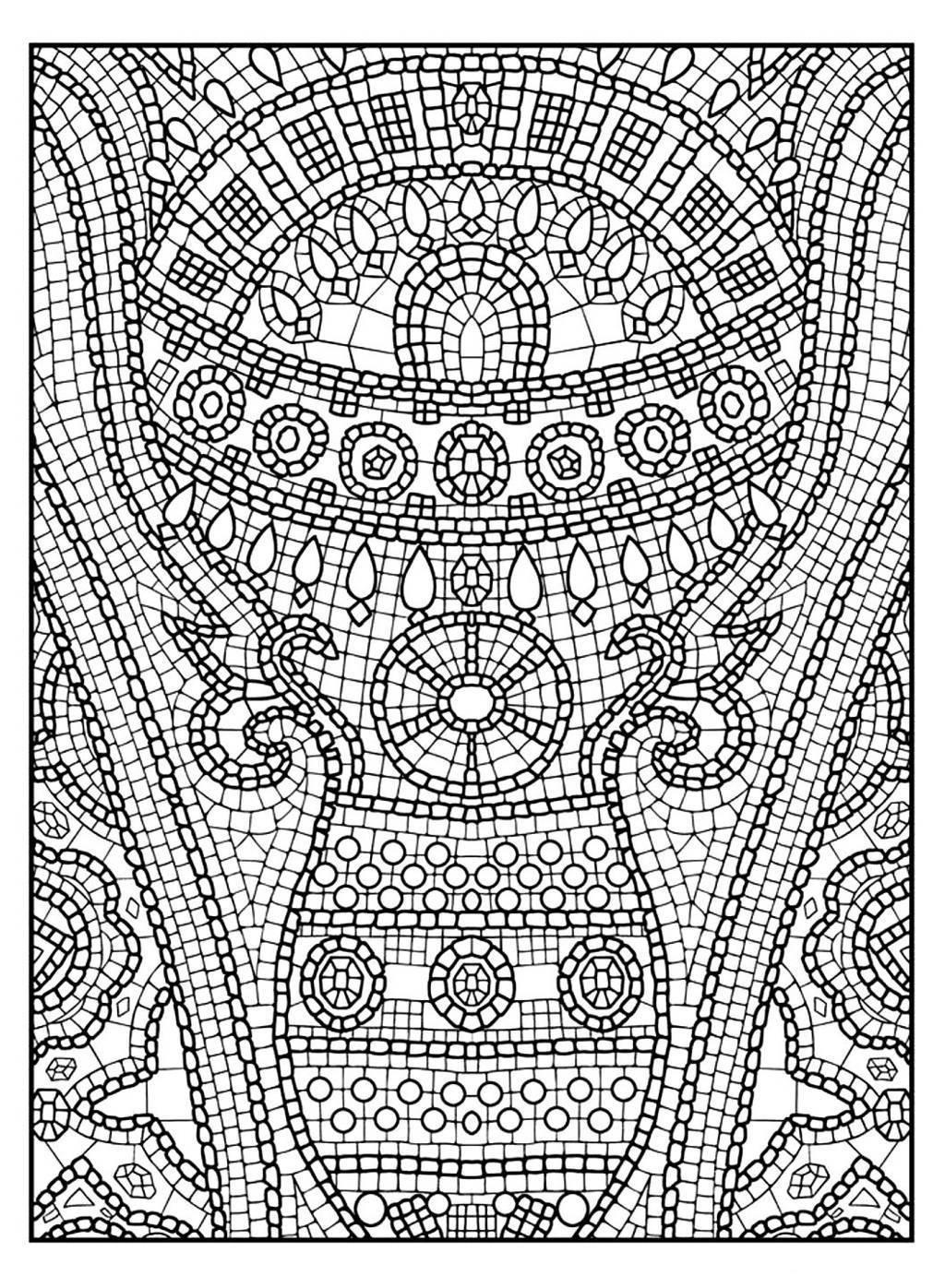 Mosaic Patterns Coloring Page