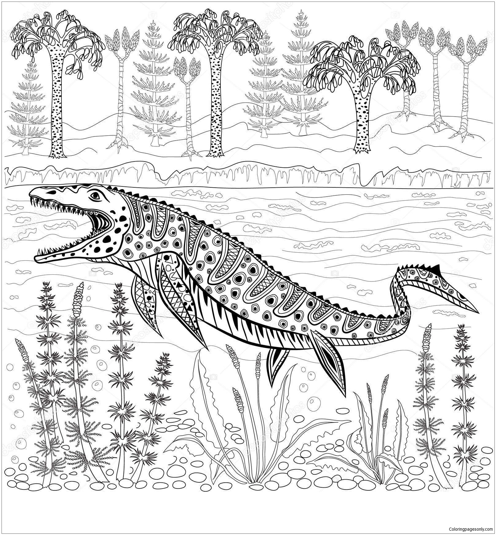 Mosasaurs Prehistoric Reptile Monster Coloring Page