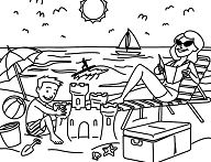 Mother and son at the beach Coloring Page