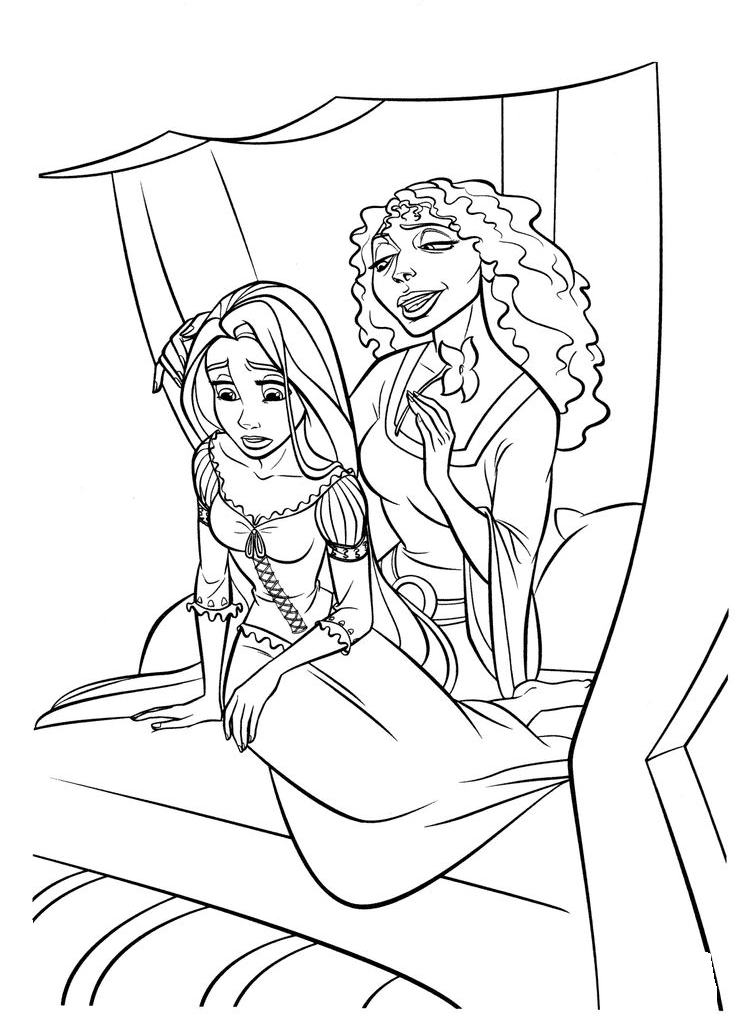 Mother Gothel and Rapunzel Coloring Page