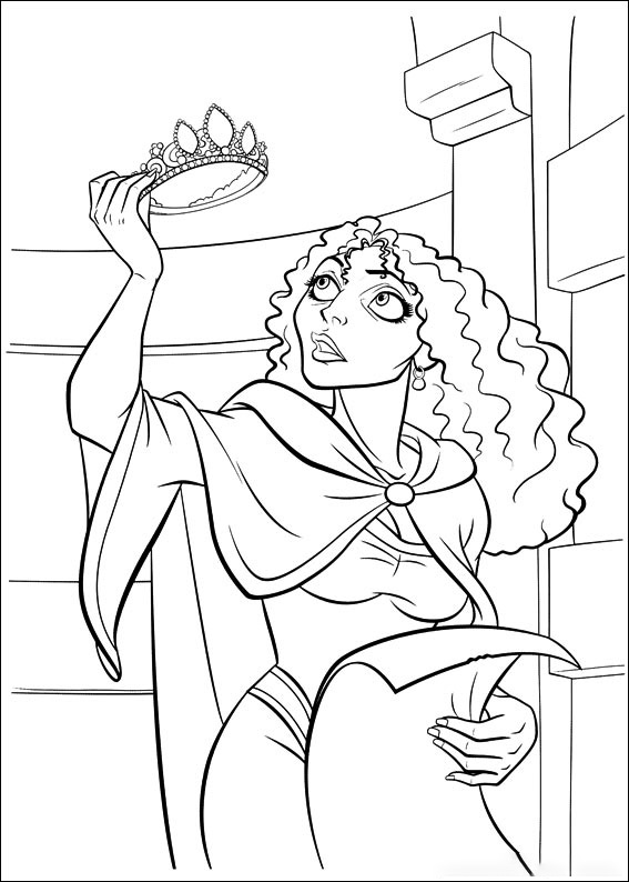 Mother Gothel gets a crown Coloring Page