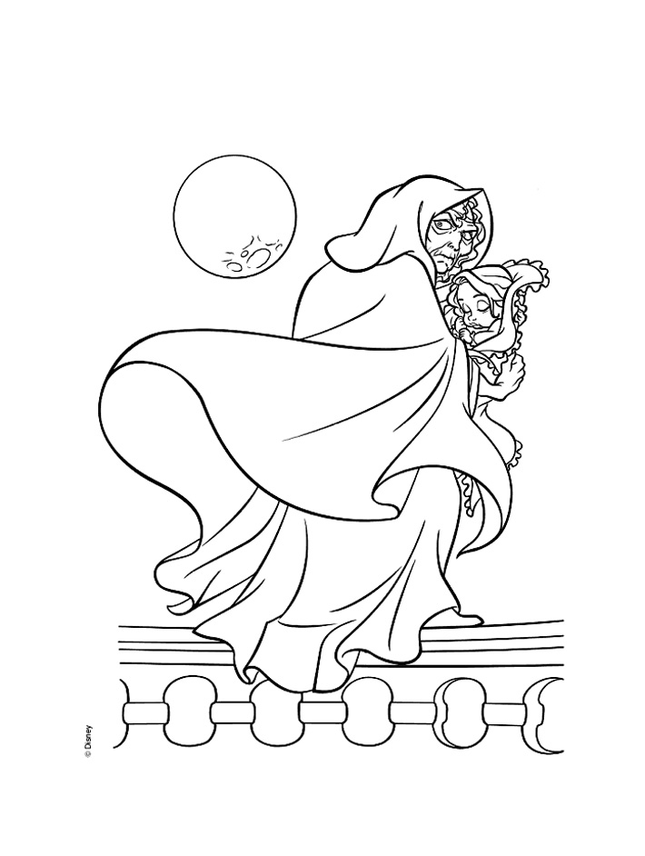 Mother Gothel kidnaps Baby Rapunzel Coloring Page