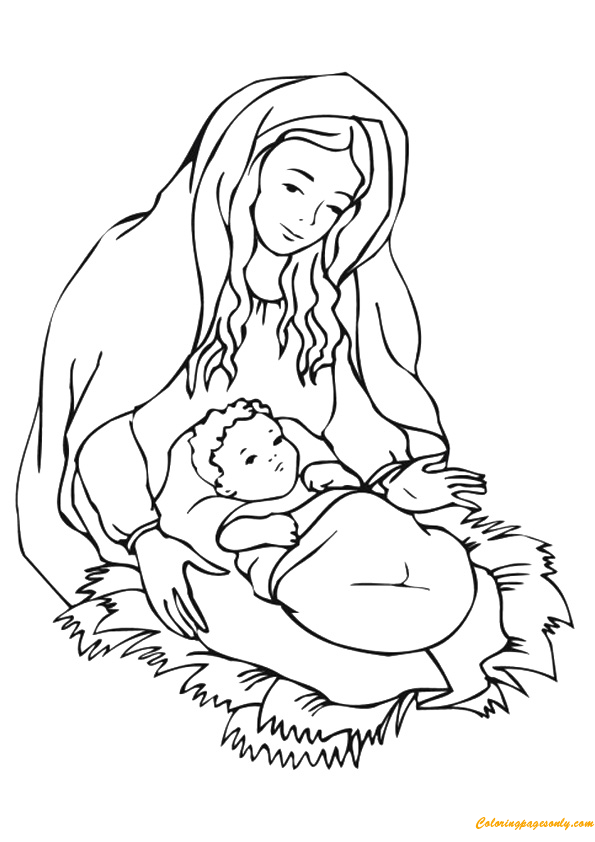 Mother Mary With Child Jesus Coloring Page