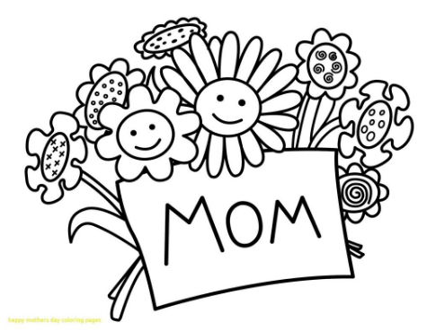 Mothers Day Coloring Flower Page
