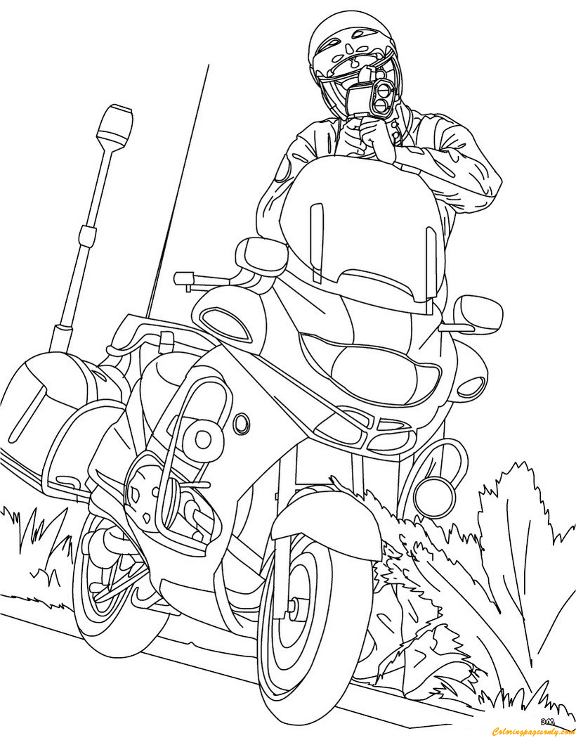 Motorcycle Police Officer Controlling Speed Traffic Coloring Page