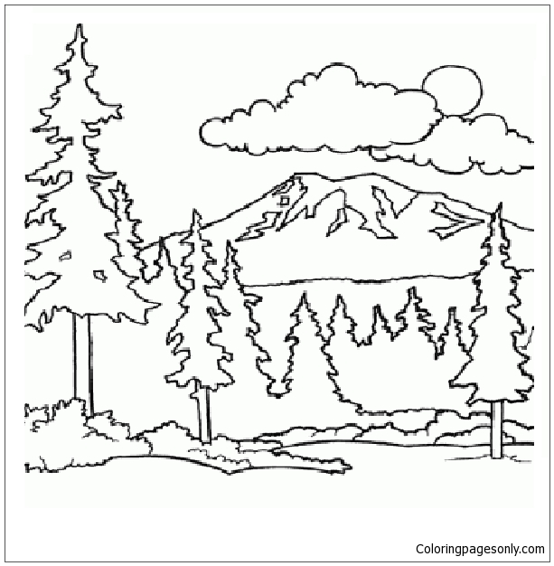 Mountain And Woods Coloring Page