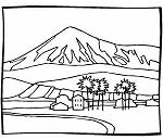 Mountain Behind House Coloring Page