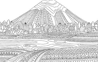 Mountain Landscape Coloring Page