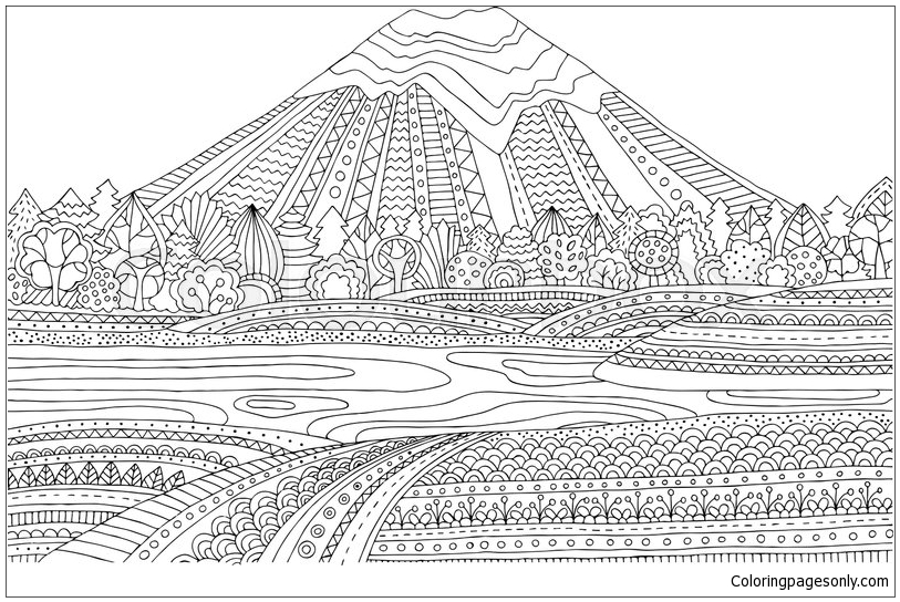 Mountain Landscape Coloring Page