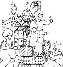 Mountain Of Gifts Coloring Page