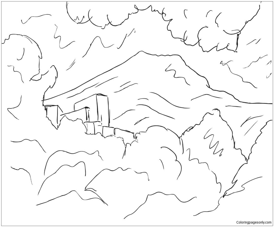 Mountain Saint Victoire By Paul Cezanne Coloring Page