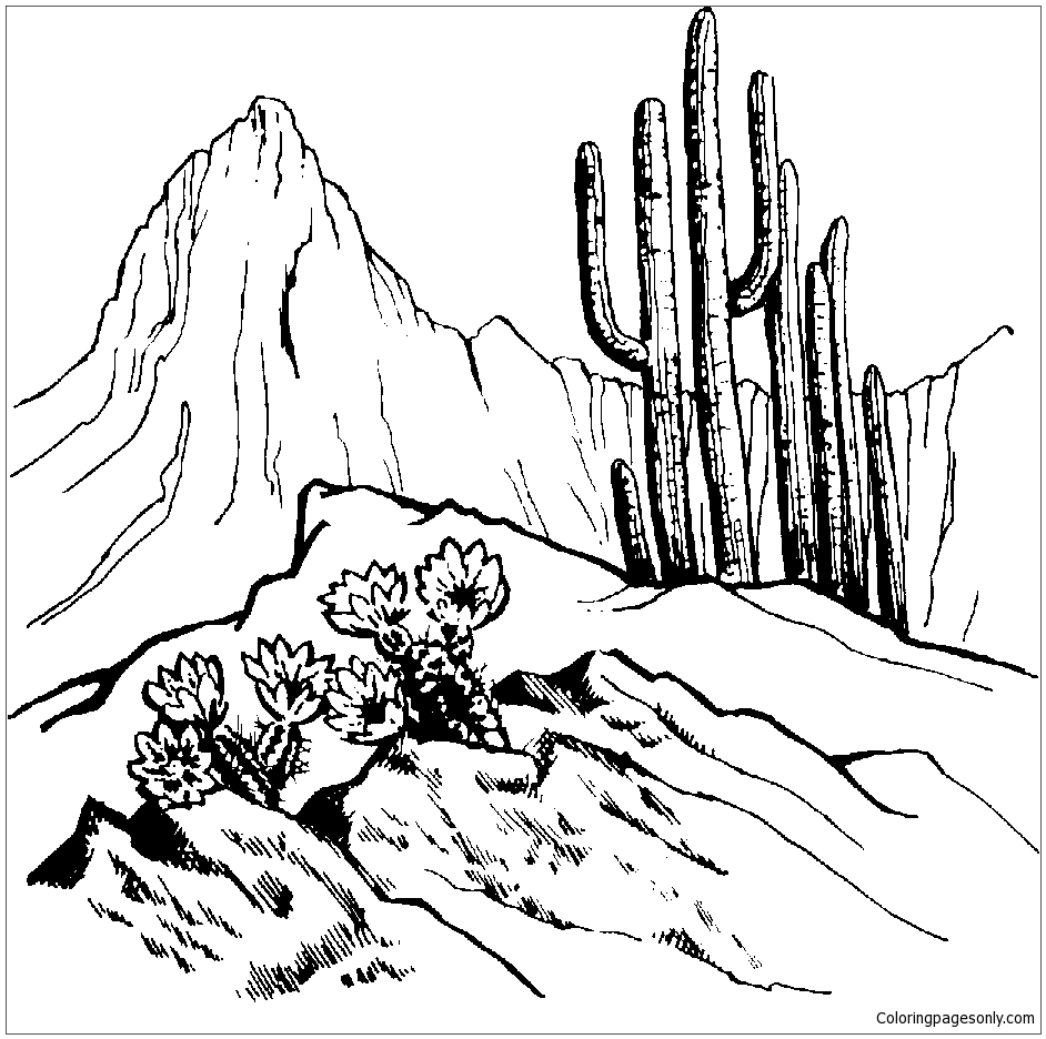 Mountain Scene 1 Coloring Page