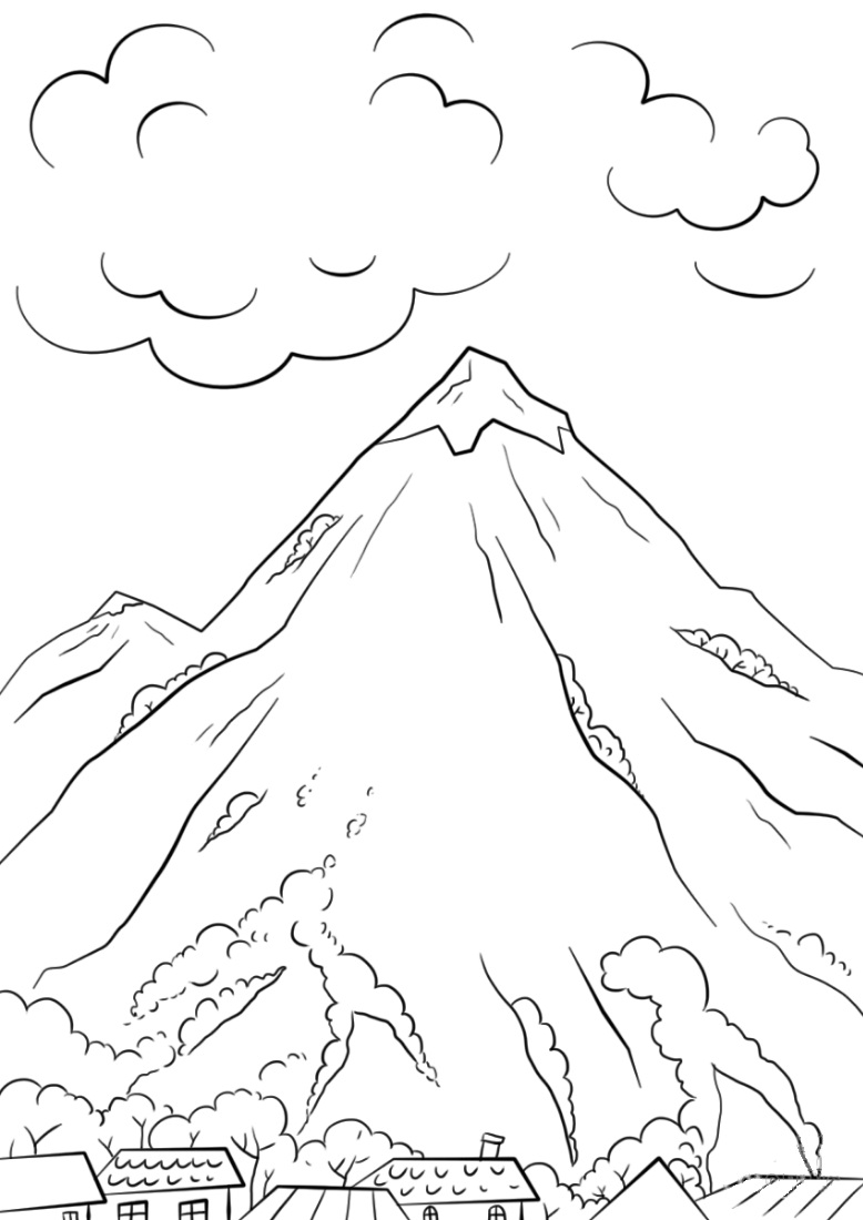 mountain scene coloring page