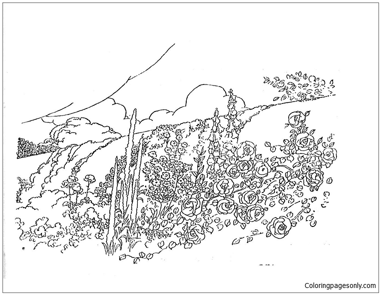 Mountain Trees Coloring Page
