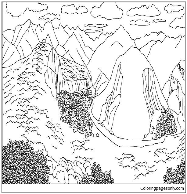 Mountains 1 Coloring Page