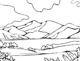 Mountains View Landscapes Coloring Page