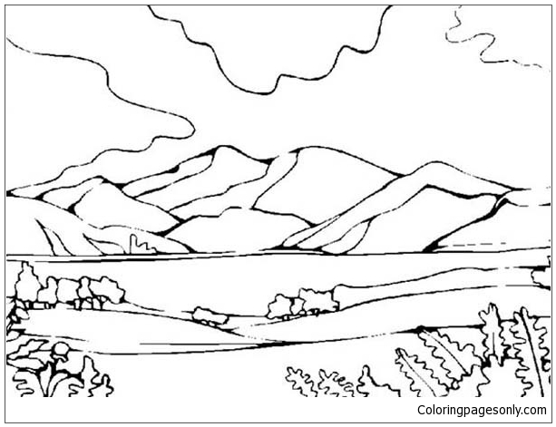 Mountains View Landscapes Coloring Page - Free Coloring Pages Online