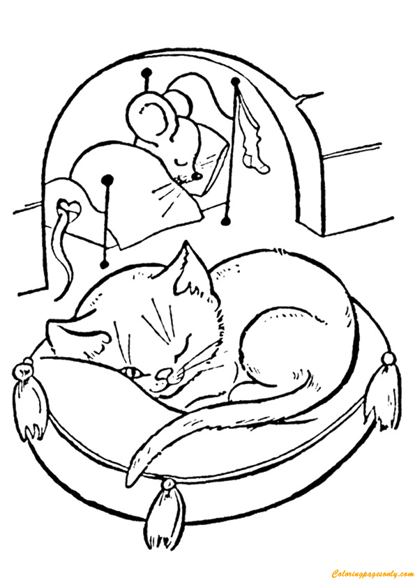 Mouse And Cat The Night Before Christmas Coloring Page